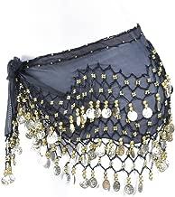 Women Chiffon Dangling Gold Coins Belly Dance Hip Skirt Scarf Wrap Belt