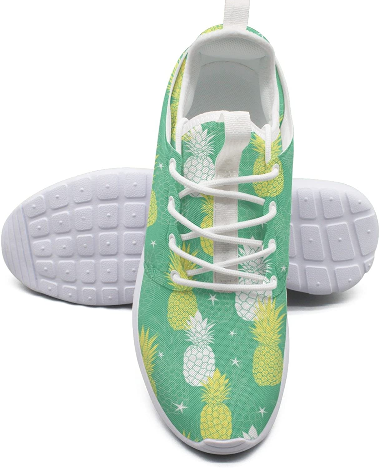 ERSER Mint Green and Yellow Pineapples and Stars Vegan Running shoes Women