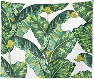 ASOCO Leaf Tapestry, Tapestry Wall Hanging Leaf Green Botanical Banana Exotic Wall Tapestry for Bedroom Living Room Tablecloth Dorm 80