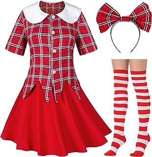 Japanese Tartan Pleated School Uniform Cosplay Costumes with Socks Cute Bowknot Headband Set