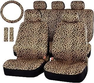 Felpa As Description Gris kemai Funda para Volante de Coche con Estampado de Leopardo