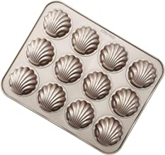 """CHEFMADE 12-cavity-2.8"""" Madeline Pan, Non-stick Circular Shell Carbon Steel Madeleine Cake Pan, FDA Approved for Oven Baking (Champagne Gold)"""