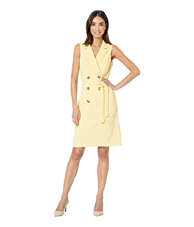 Donna Morgan Sleeveless Crepe Coat Dress (Daffodil) Women