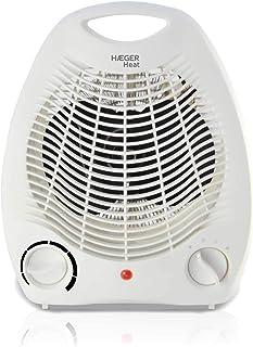 HAEGER Heat - Calefactor 2000W, Blanco, Termostato Regulable, 3 velocidades, Botón de selección (Off, Fan - Ventilador,I - 1000W, II - 2000W)