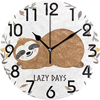 Naanle Cute Baby Sloth Sleeping Among Flowers and Leaves Round Wall Clock Decorative, 9.5 Inch Battery Operated Quartz Ana...