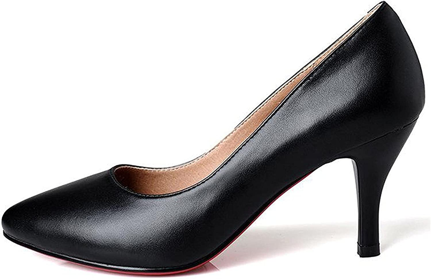 Davikey Women's Classic High Heels Leather Pumps Pointed Toe Dress Pumps Solid Pump