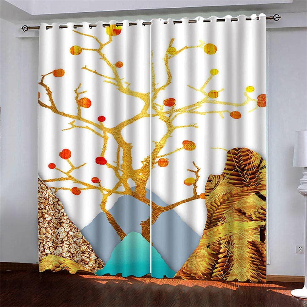 Blackout Curtains Golden Branches Award-winning store Top Popular overseas for Eyelet Window