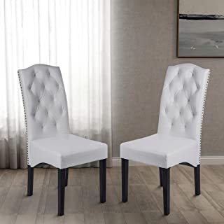 Merax Dining PU Chair with Solid Wood Legs, 18.11