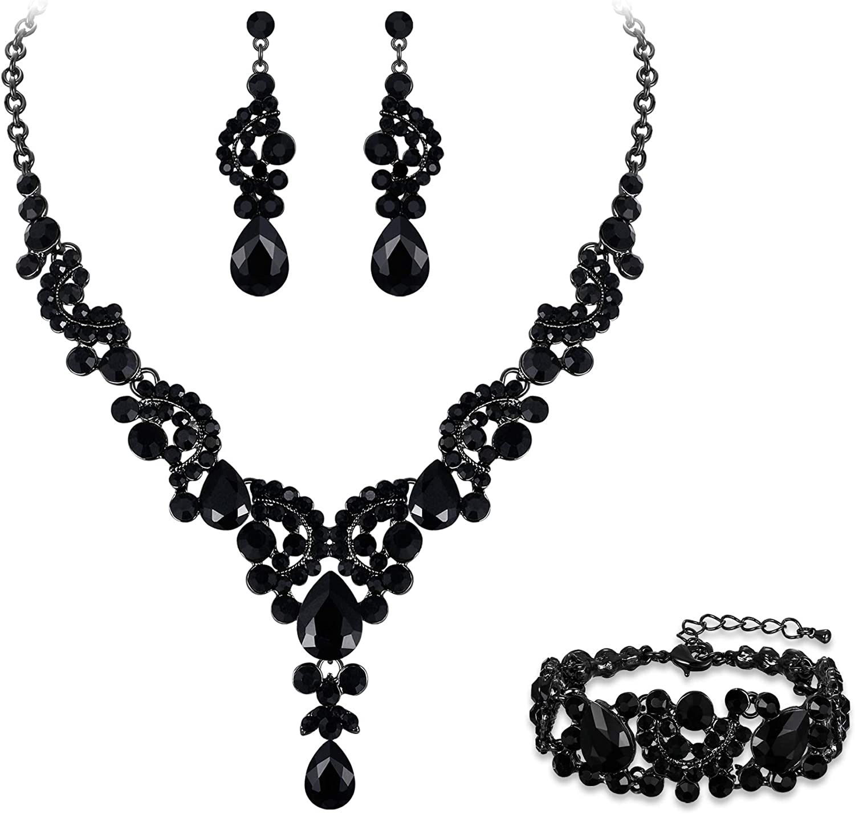 EVER FAITH Rhinestone Crystal Bridal Art Deco Floral Wave Teardrop Necklace Earrings Bracelet Jewelry Set