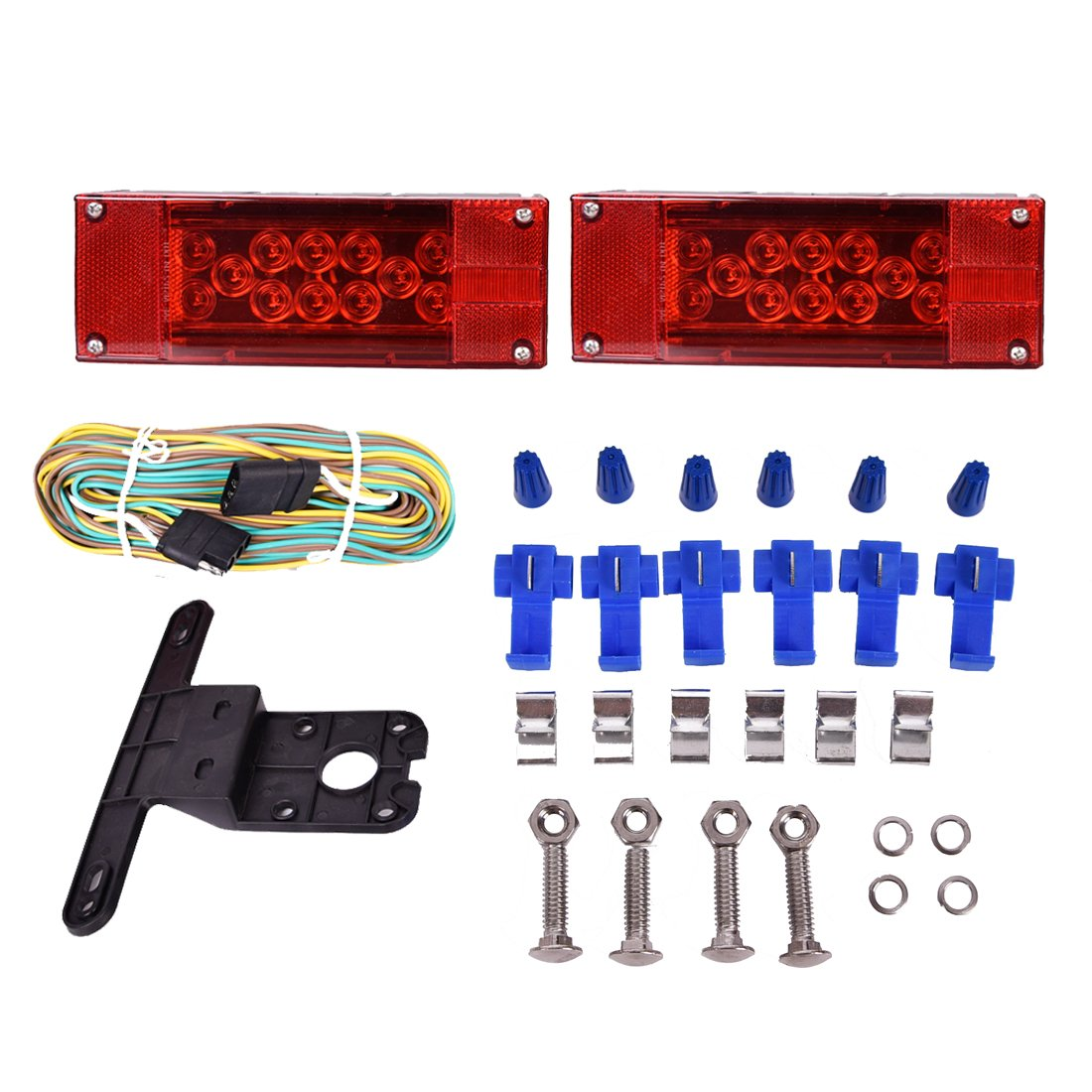 trailer led lights amazon comczc auto 12v led low profile submersible rectangular trailer light kit tail stop turn running lights