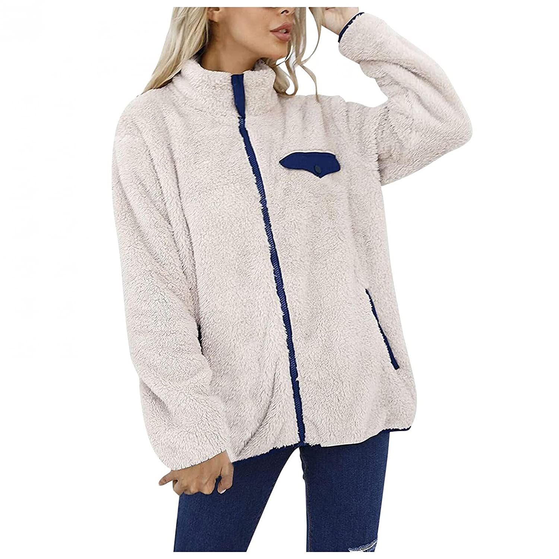 Spring new work one after another Finally resale start Padaleks Women's Girls Faux Fur Full Jackets Patc Zip Sweatshirt