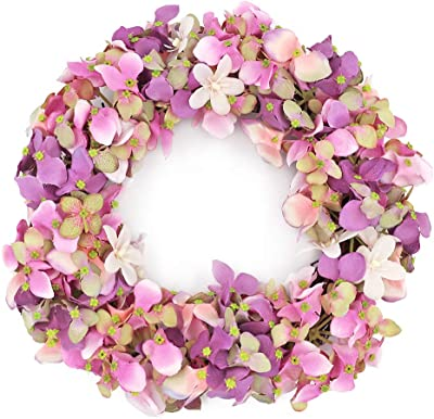 JUDYME 12 Inch Artificial Hydrangea Wreath for Front Door Outdoor Home Party Wedding Farmhouse Decoration