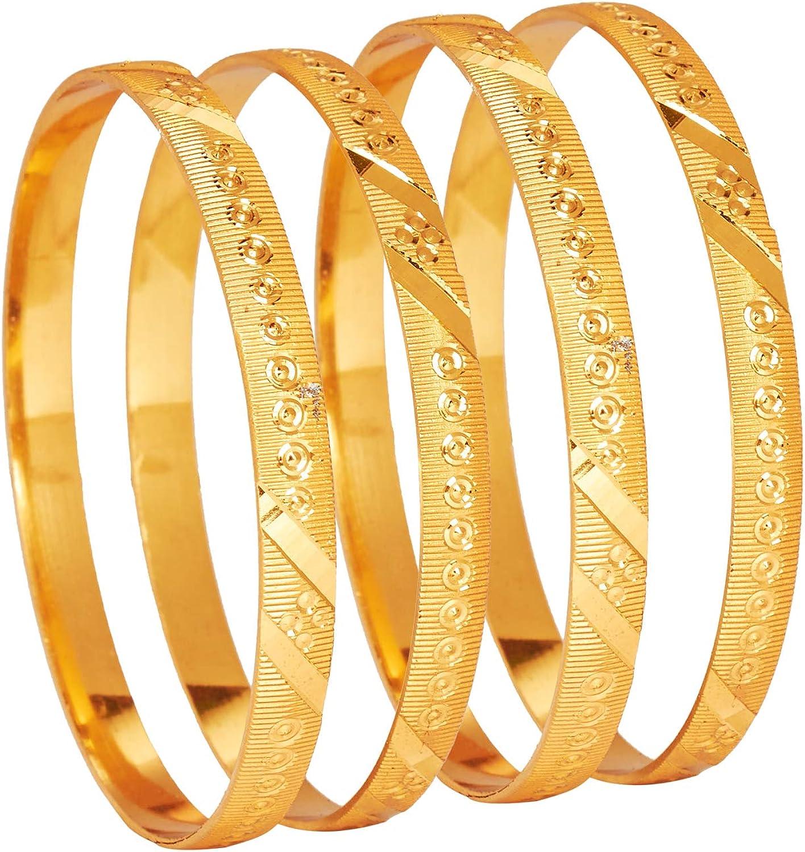 Bodha Traditional Indian 24K Fine Gold Plated Designer Bangles for Women (Pack of 4) SJ_3308
