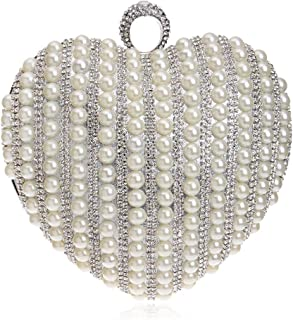 Women's Heart-Shaped Clutch, Pearl Decoration, Wedding Bag, Party Bag, Evening Bag, Messenger Bag, is The Perfect Gift for Women (Color : White)