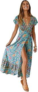 e1bf03b210 Nensiche Robe d'été des Femmes bohème Robe v-Cou Dame rétro Plage Fleur