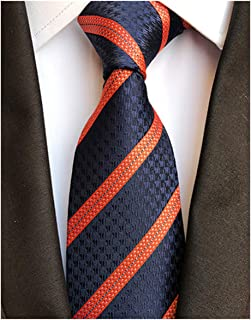 L04BABY Men's Classic 100% Silk Striped Ties Woven JACQUARD Formal Suit Neckties
