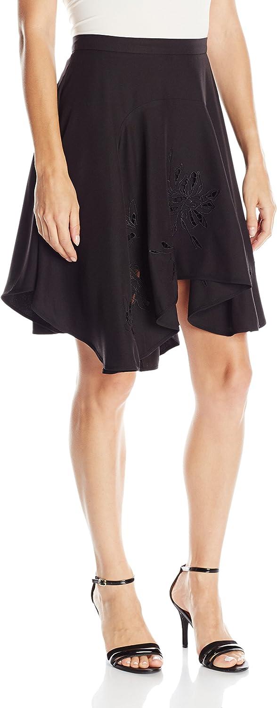 Halston Heritage Womens Asymmetrical Flounce Skirt with Embroidery Skirt