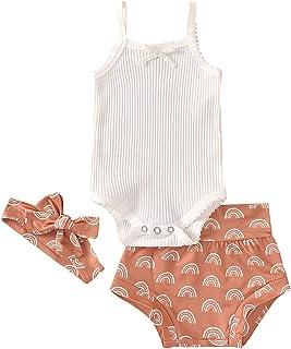 HUBA Neugeborenes Baby Kleidungsset ärmellos Strampler Overall Einteiliger Jumpsuit Bodysuit  Kurze Hose  Stirnband Outfits Set Anzug für Jungen Mädchen0-18 Monate