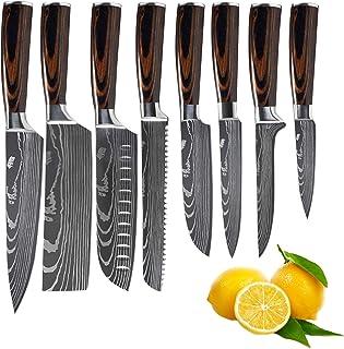 Couteaux de cuisine Set professionnels Couteaux de cuisine japonais 7CR17 440C haute teneur en carbone en acier inoxydable...