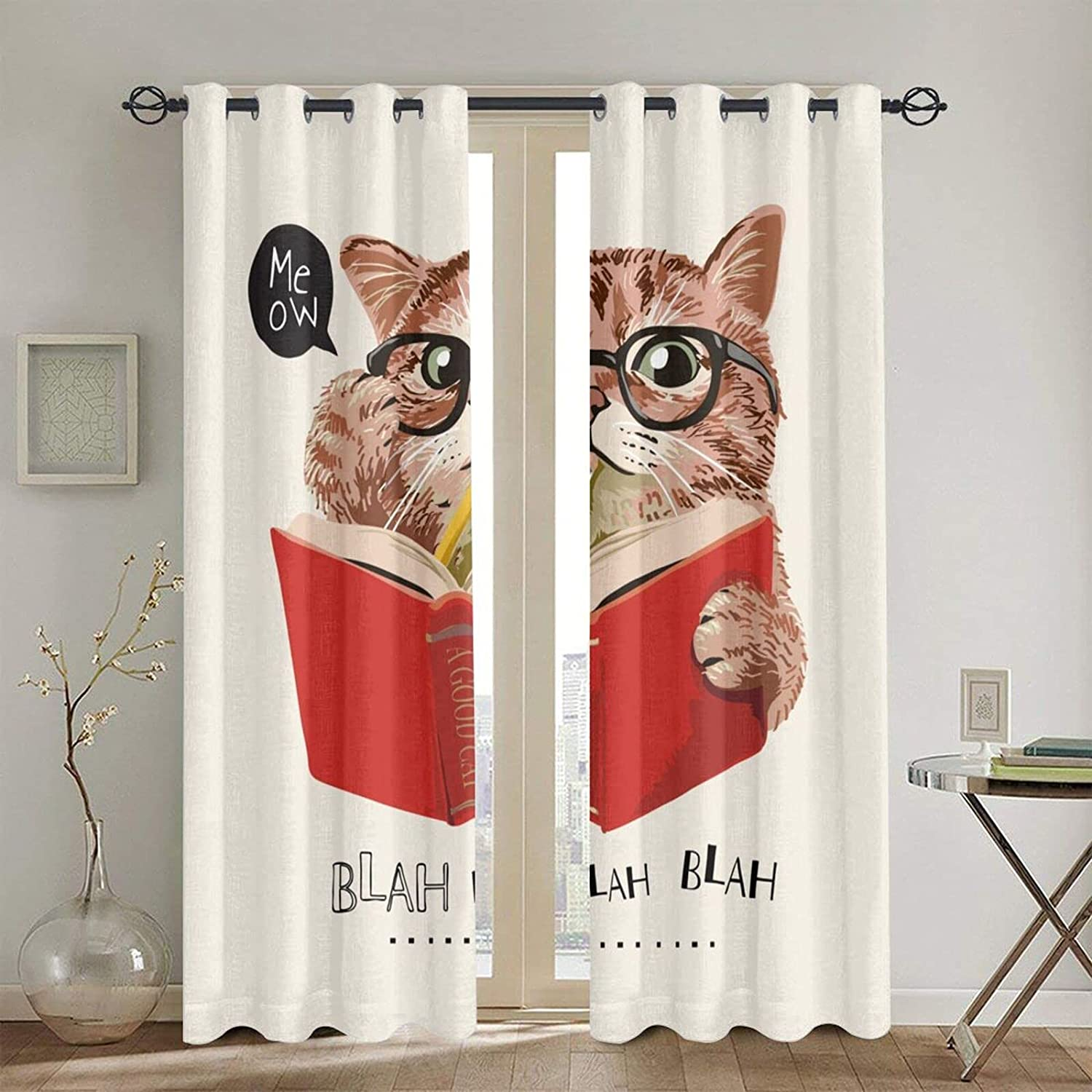 Free Shipping New onetoze Cat Curtains Cute Kawaii Selling and selling Kitten Reading Glasses in
