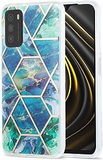 XCYYOO Coque Marbre Géométrie Case pour Xiaomi Poco M3,Anti Choc Rayure Étui Coque,Marbre Housse Silicone Coque