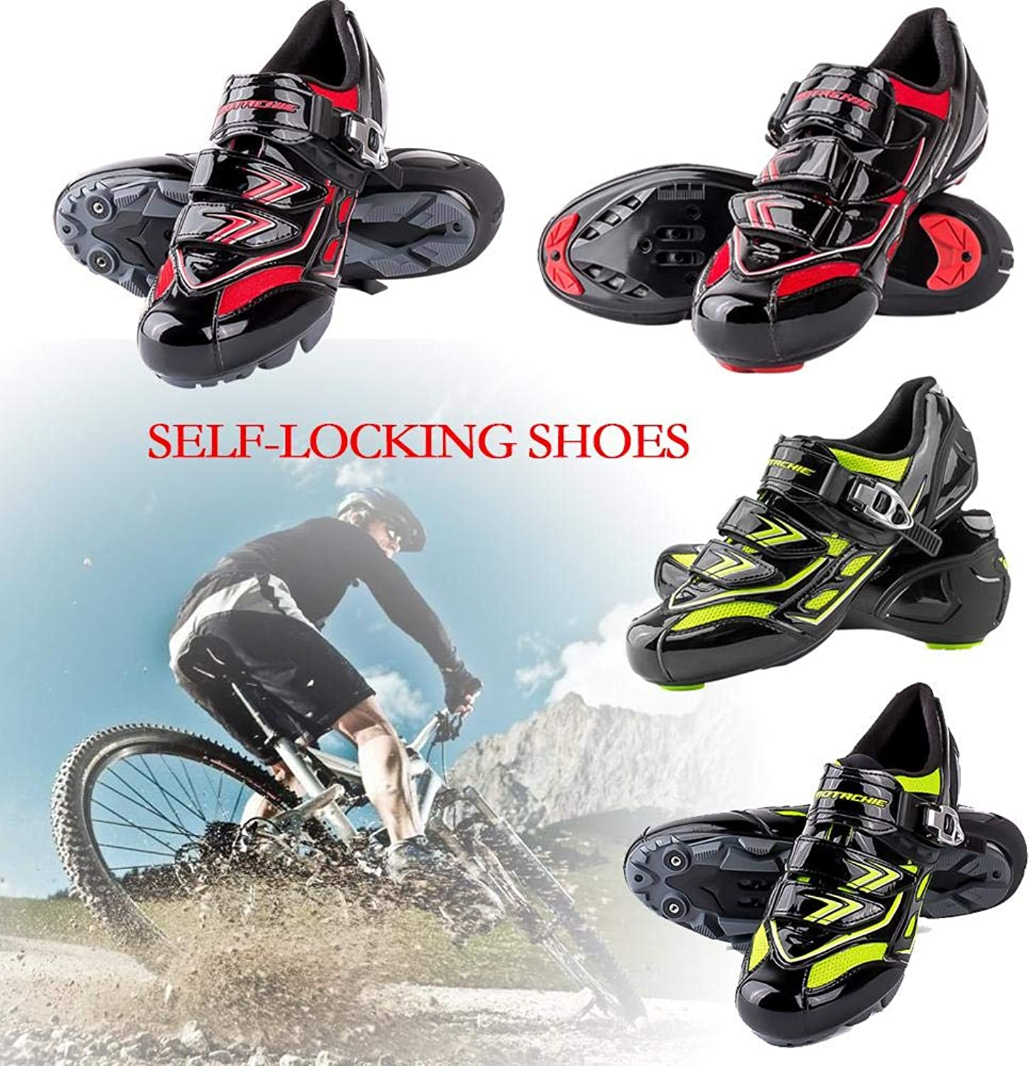 Ridecle Road Cycling Bike shoes, Mens Waterproof Sweat Absorbent Breathable Wear Resistant Non-slip Lightweight Bike Self-locking shoes For MTB Cycle Bicycle Riding Outdoor Sports