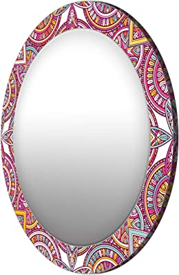 999Store Printed classcal Colorful Pattern Round Mirror (MDF_24X24 Inch_Multi)