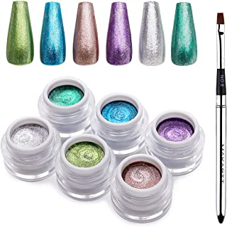 Makartt Glitter Gel Nail Polish Set, 6 Colors Fall Silver Rose Gold Purple Blue Green Holographic Gel Nail Polish, Sparkle Gel Polish Set for Women Home and Salon Use, P-32