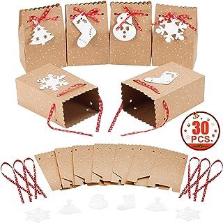MonQi 30 Pieces Gran Capacidad Bolsas de Papel Navideñas con 30 Etiquetas Navideñas y Cinta Navideña, Caja de Papel de Navidad Fácil de Plegar para Decoraciones Navideñas (4.5