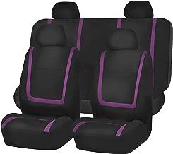 FH Group FB032PURPLE114 Purple Unique Flat Cloth Car Seat Cover (w. 4 Detachable Headrests and Solid Bench)