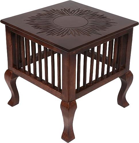 Vudy Mango Wood Walnut Finish Handmade Carving Classic for Living Room (Brown)