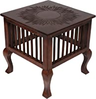 Vudy Mango Wood Walnut Finish Handmade Carving Classic Side Table for Living Room (Brown)