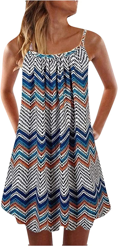 JPVDPA Women Summer Active Sundress O-Neck Sleeveless Printed Dress Casual Boho Style Dress Sexy Skirts