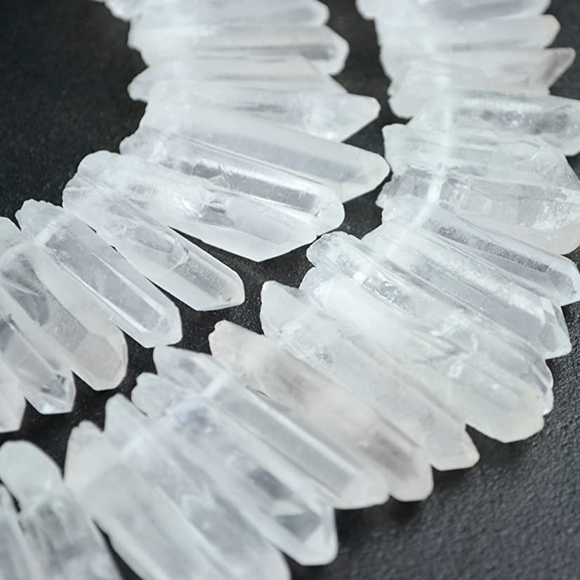 Raw Natural Rock Crystal Quartz Point Beads 15 inches Strand Rough Clear Quartz Pointed 20mm to 40mm Top Drilled