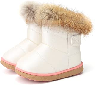 DESTURE Toddler Snow Boots for Baby Girl Boys Fur Lined Warm Winter Outdoor Slip-on Button Boots (Toddler/Little Kids)