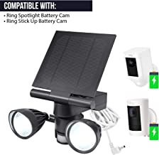 Wasserstein Ring Floodlight & Solar Panel Charger, Motion-Activated, Compatible with Ring Stick Up Cam & Ring Spotlight Cam Only (1- Pack, Black)