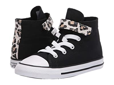 Converse Kids Chuck Taylor(r) All Star(r) 1V Leopard Print (Infant/Toddler) (Black/Driftwood/White) Girl