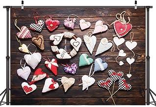 LYWYGG 7X5FT Día de San Valentín Tablero de Fondo de Madera Marrón Corazón Colorido Vinilo Fotografía Fondos Personalizados Foto Fondo Estudio Prop CP-117
