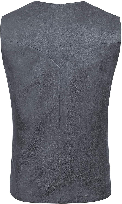 JINIDU Men's Casual Suede Leather Vest Jacket Slim Fit Dress Vest Waistcoat