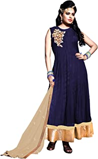 Pop Mantra Women's georgette anarkali Salwar Suit Set (EBSFSK223041-1_ Blue_ Xxx-Large)