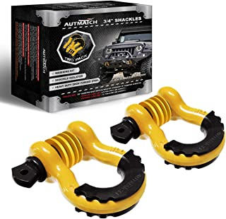 """AUTMATCH Shackles 3/4"""" D Ring Shackle (2 Pack) 41,887Ibs Break Strength with 7/8"""" Screw Pin and Shackle Isolator & Washers..."""
