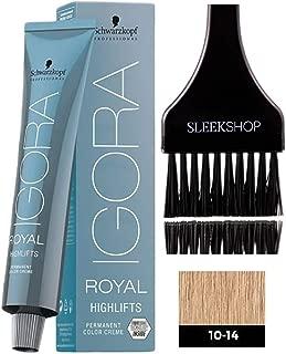 Schwarzkopf IGORA Royal HIGHLIFTS Permanent Hair Color Creme (with Sleek Tint Applicator Brush) Haircolor Cream (10-14 Ultra Blonde Cendre Beige)