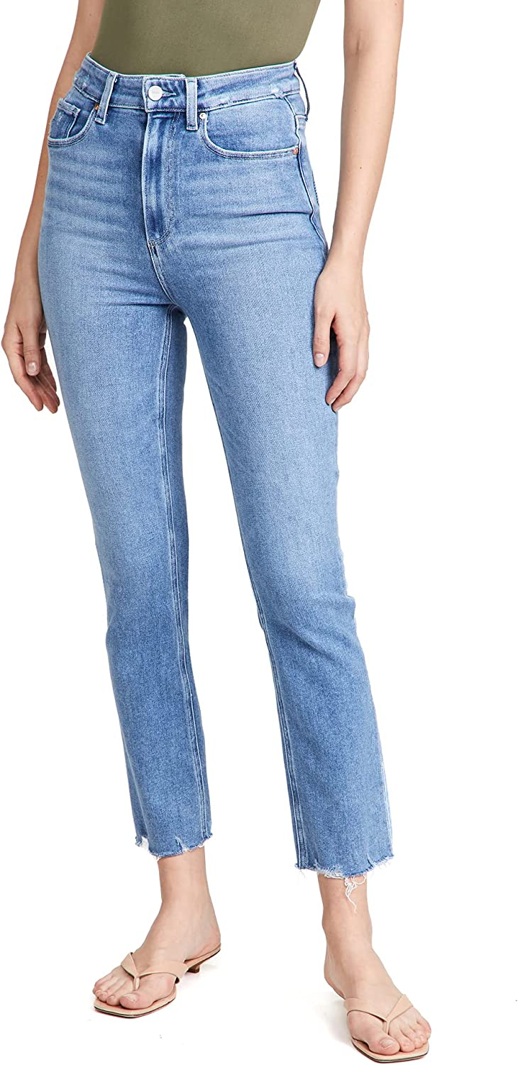 PAIGE Women's Ultra High Rise Cindy Distressed Jeans