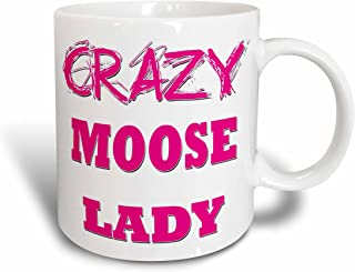 3dRose 175194_2 Crazy Moose Lady Ceramic Mug, 15 oz, White
