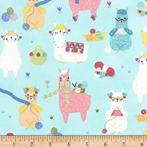 Timeless Treasures Knitting Alpacas Fabric, Aqua, Fabric By The Yard