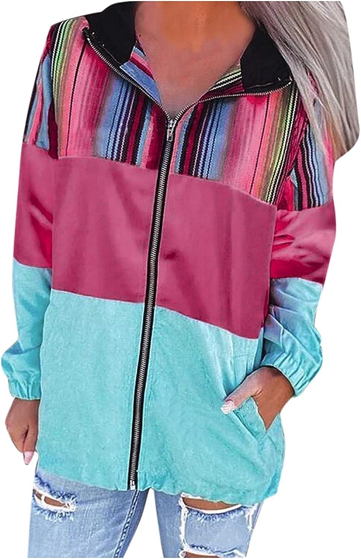 Fashion Jacket Coat Women's Stripe Printing Loose Long Sleeve Autumn Coat Blouse