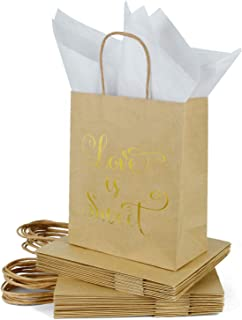 Loveinside Medium Kraft Gift Bags-Love is Sweet Gold Foil Brown Paper Gift Bag with Tissue Paper - Wedding,Birthday,Party Favor,Bridesmaids Gift-12Pack -8