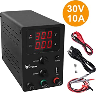 Flycow DC Power Supply Variable, Adjustable 30V 10A Switching DC Regulated Power Supply with 3 Digit LED Display Reverse Polarity/High Temperature Protection 110V/100CM Alligator Leads Included…