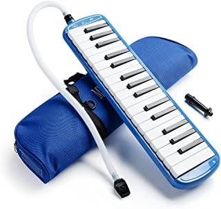 Vangoa 32 Key Melodica Blue Pianica Portable with Carrying Bag, Short and Long Mouthpieces for Beginners Kids Gift