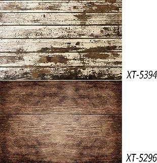 2 en 1 Fondo de madera retro Textura de madera vintage Telón de fondo de foto Papel impermeable para alimentos, flores, vajilla Fotografía Ins Fotos 15.7x34.6 pulgadas DP-214